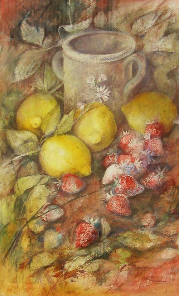 Le composizioni degli acquerelli di Giampiero Pierini, Fragole al limone