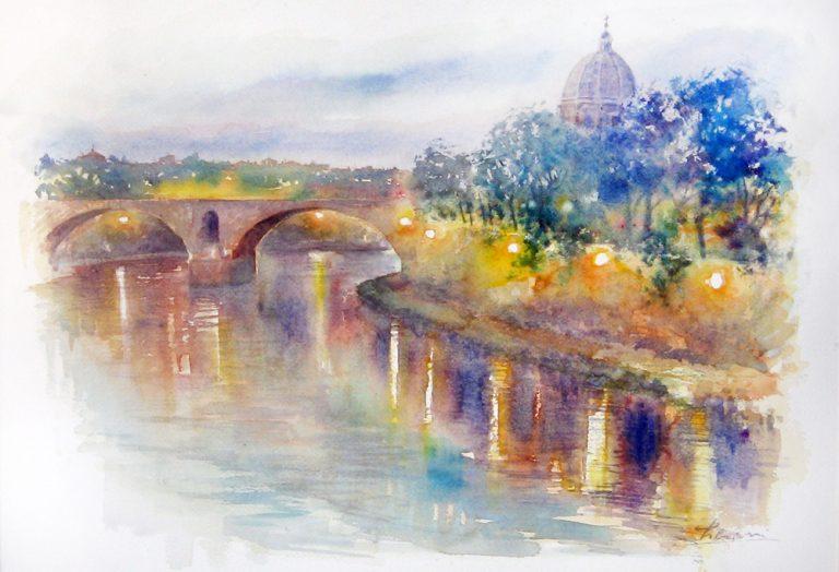 Roma e la campagna romana degli acquerelli di Giampiero Pierini, scende la sera su Roma