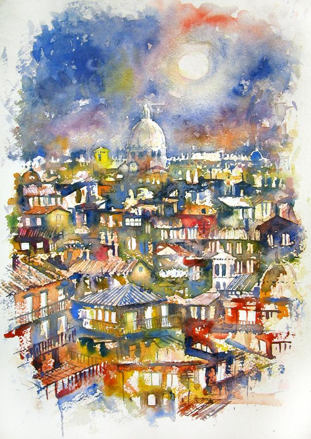 Roma e la campagna romana degli acquerelli di Giampiero Pierini, notte a Roma