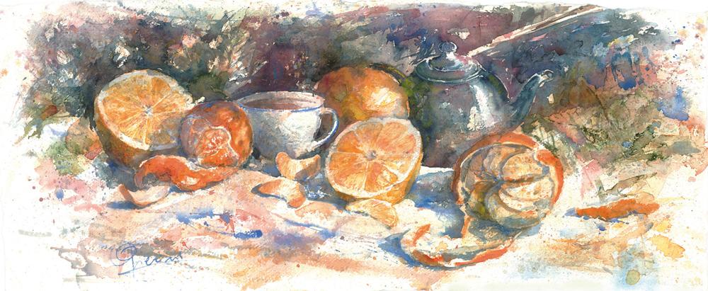 Le composizioni degli acquerelli di Giampiero Pierini, Arance, mandarini e un po' di caffè