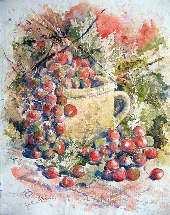 Le composizioni degli acquerelli di Giampiero Pierini, Vaso con uva