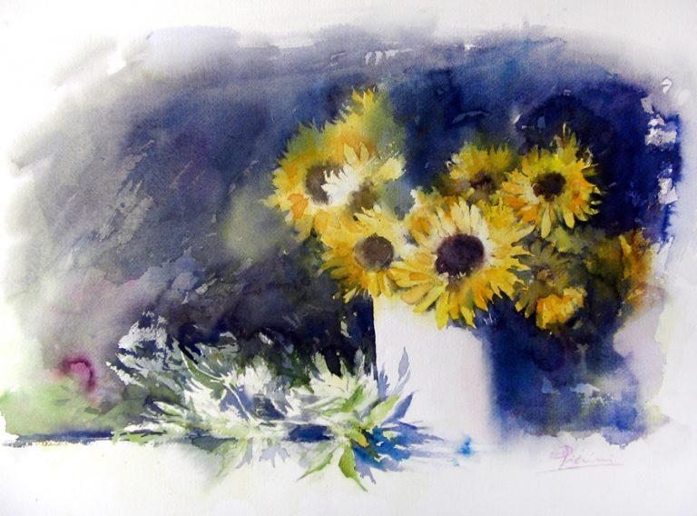 Le composizioni degli acquerelli di Giampiero Pierini, Girasoli in un vaso