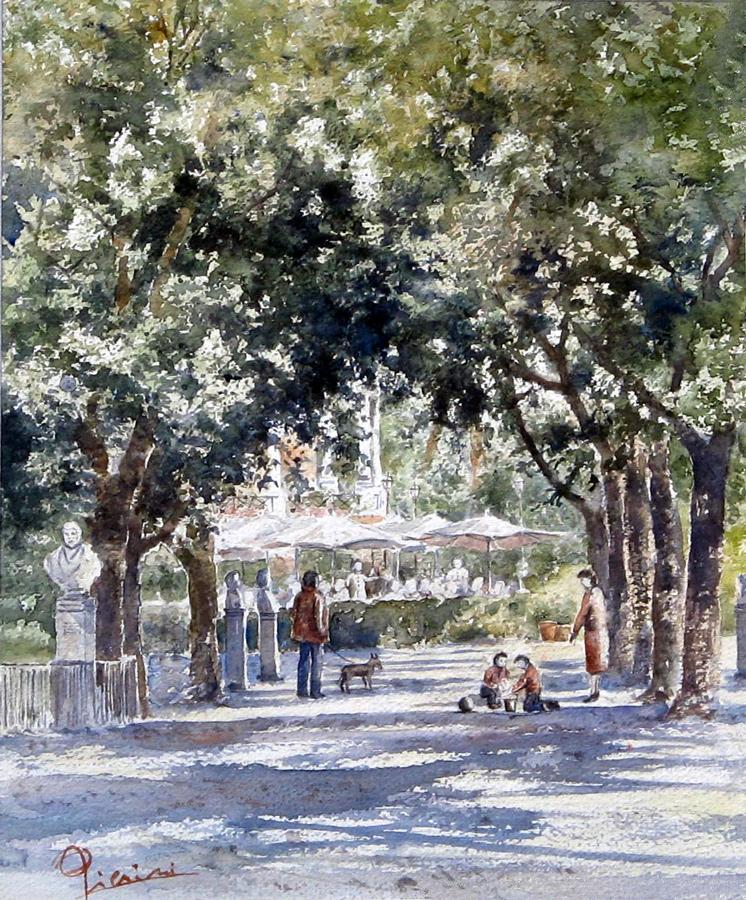 Roma e la campagna romana degli acquerelli di Giampiero Pierini, Villa Borghese