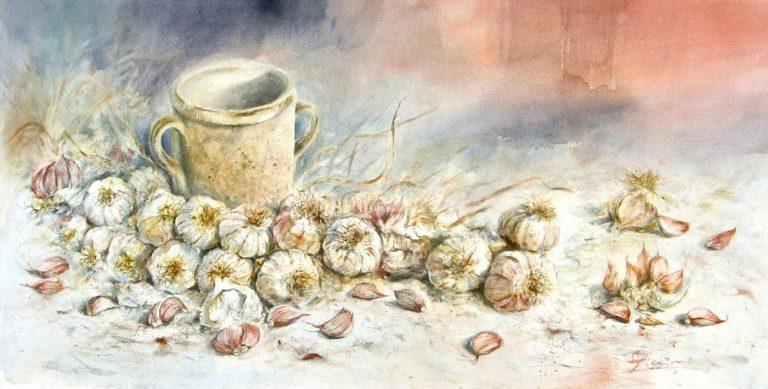 Le composizioni degli acquerelli di Giampiero Pierini, Rosato, dorato e agliato