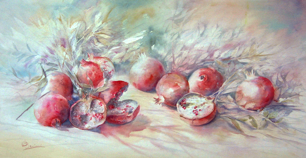 Le composizioni degli acquerelli di Giampiero Pierini, Vermiglio melograno