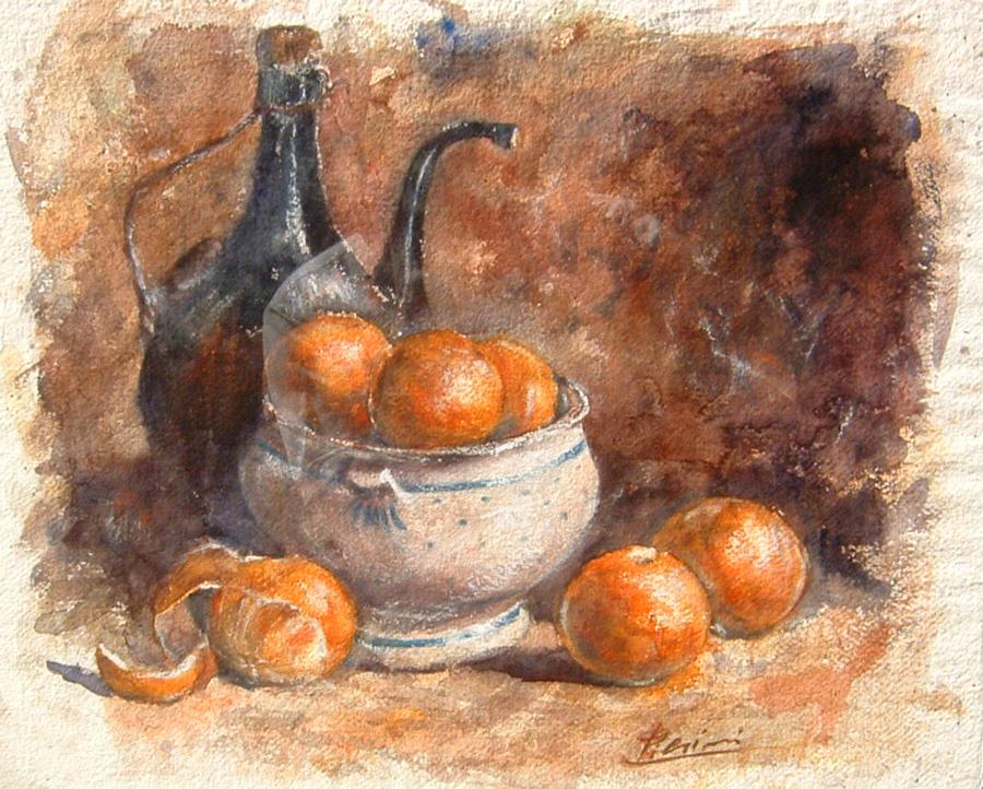 Le composizioni degli acquerelli di Giampiero Pierini, Damigiana e arance