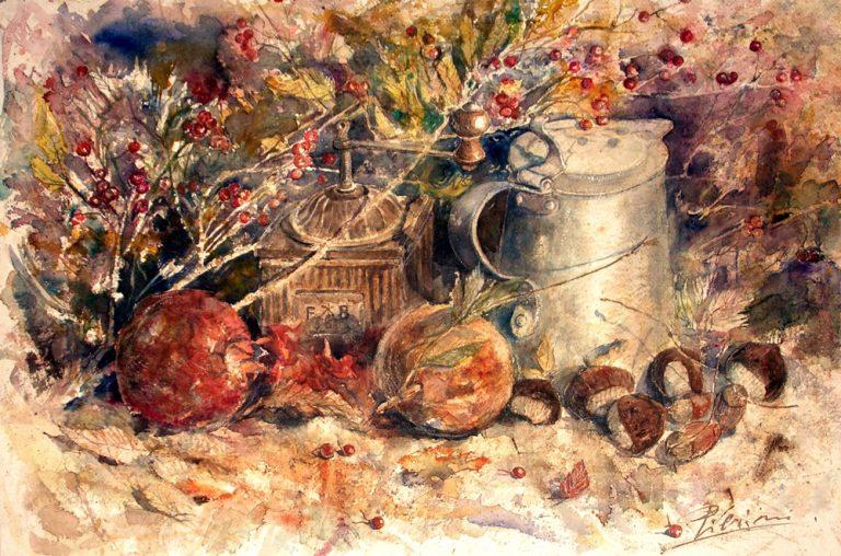 Le composizioni degli acquerelli di Giampiero Pierini, Melagrane e castagne