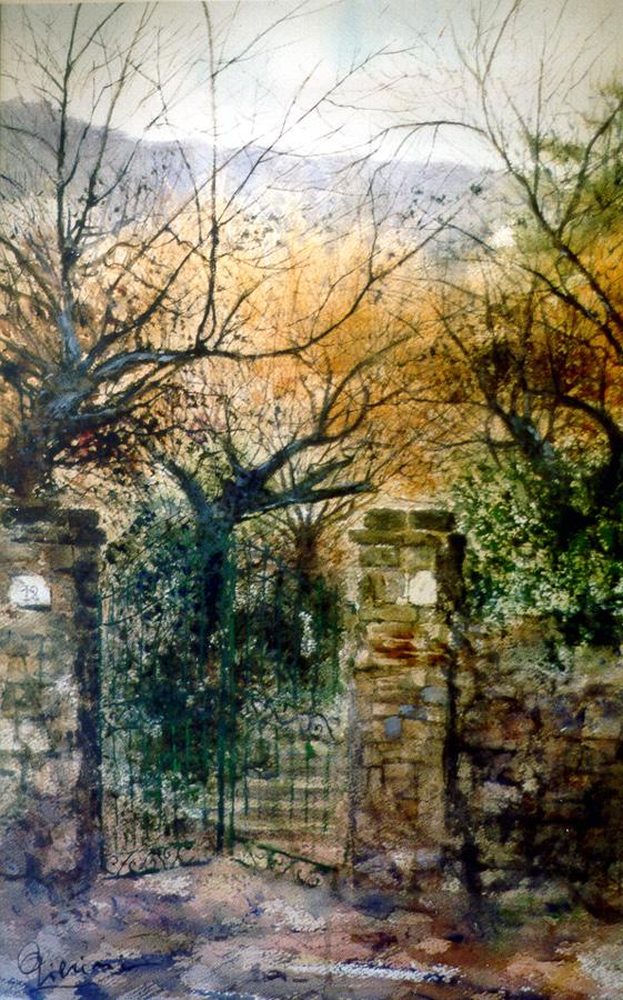 Altre opere e soggetti degli acquerelli di Giampiero Pierini, nei giardini d'autunno
