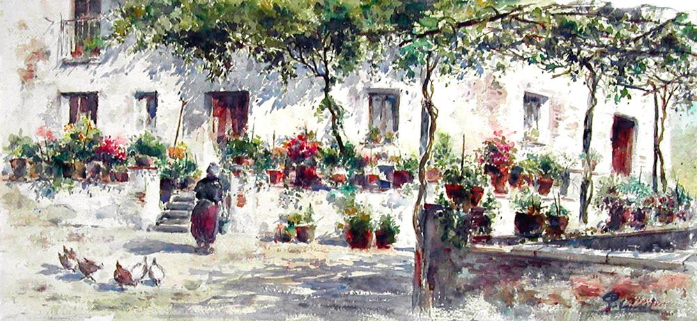 Altre opere e soggetti degli acquerelli di Giampiero Pierini, casale di campagna
