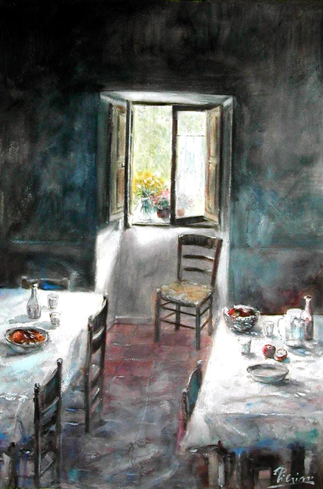 Altre opere e soggetti degli acquerelli di Giampiero Pierini, il dopo pranzo da Peppe