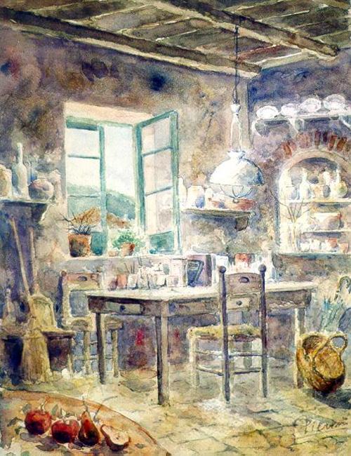 Altre opere e soggetti degli acquerelli di Giampiero Pierini, interno di un casale