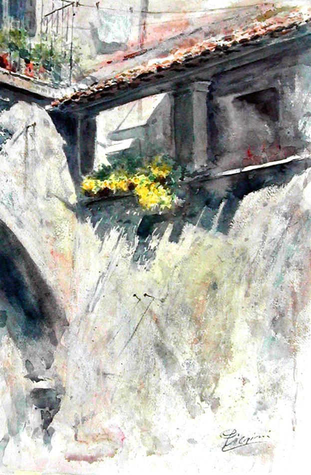 Altre opere e soggetti degli acquerelli di Giampiero Pierini, loggetta del mese di aprile