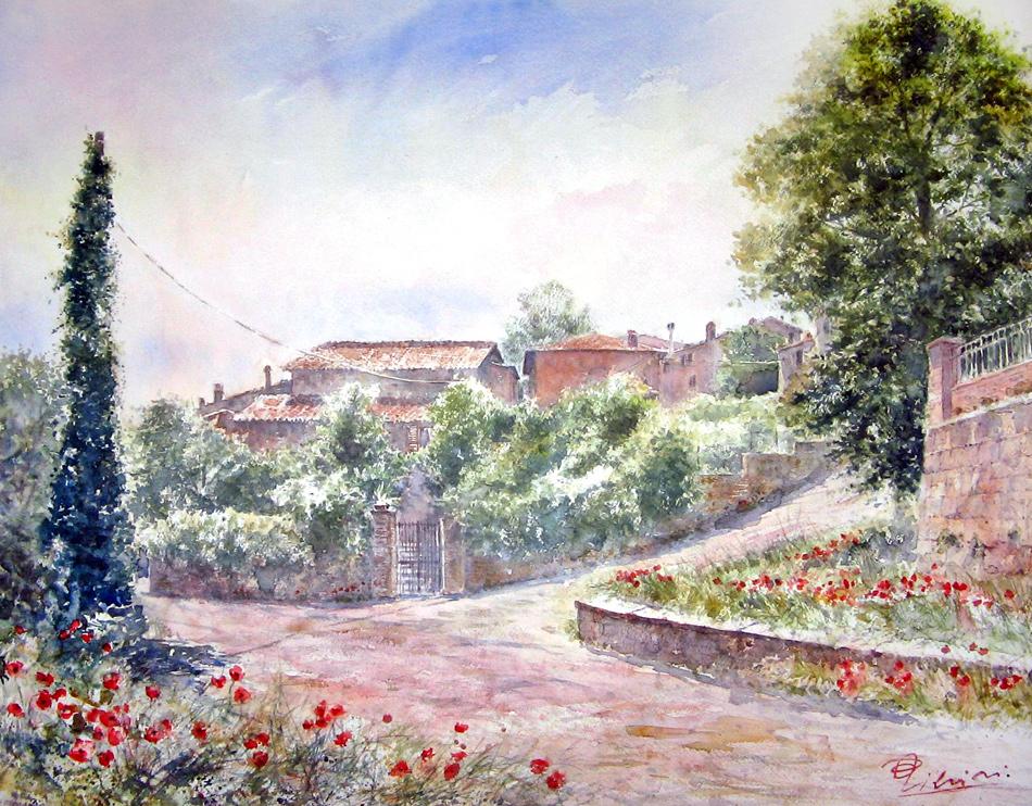Altre opere e soggetti degli acquerelli di Giampiero Pierini, estemporanea a Manziana in via della stazione