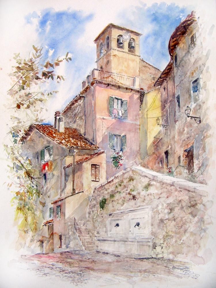 Altre opere e soggetti degli acquerelli di Giampiero Pierini, estemporanea a Pereto