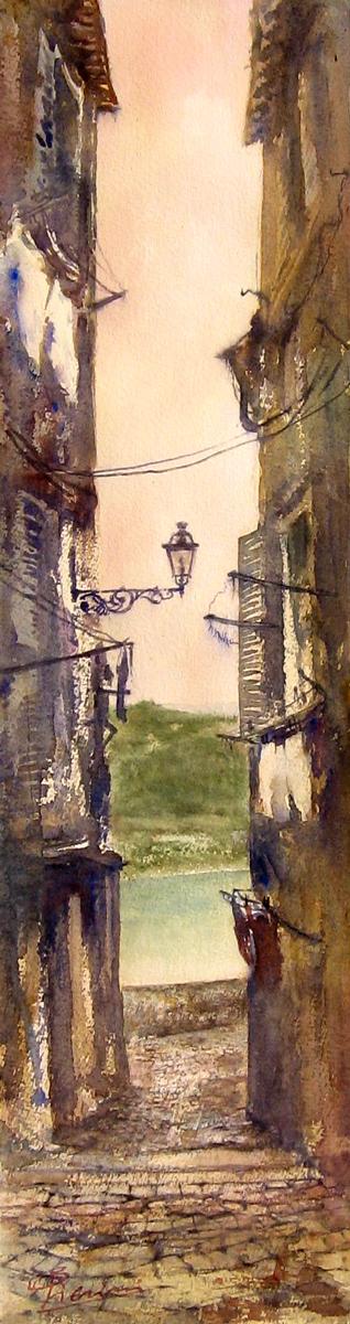 Altre opere e soggetti degli acquerelli di Giampiero Pierini, tra le vie di Nemi