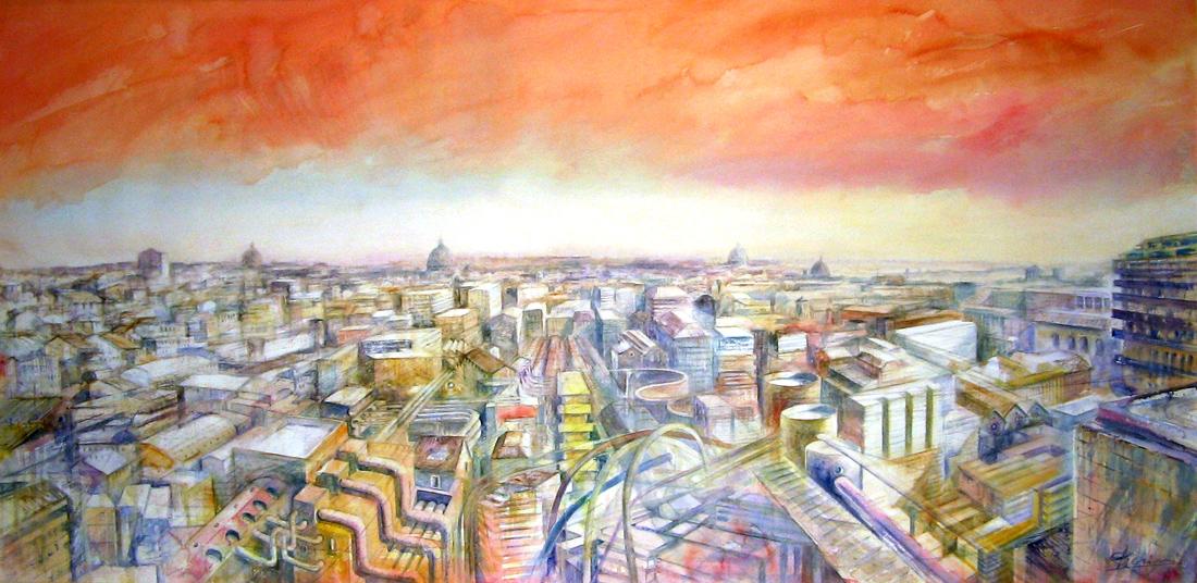 Altre opere e soggetti degli acquerelli di Giampiero Pierini, città futuristica con colori caldi