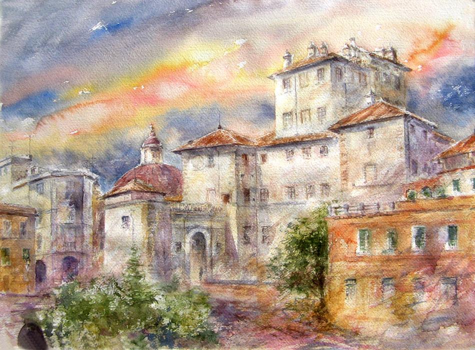 Altre opere e soggetti degli acquerelli di Giampiero Pierini, palazzo Chigi ad Ariccia