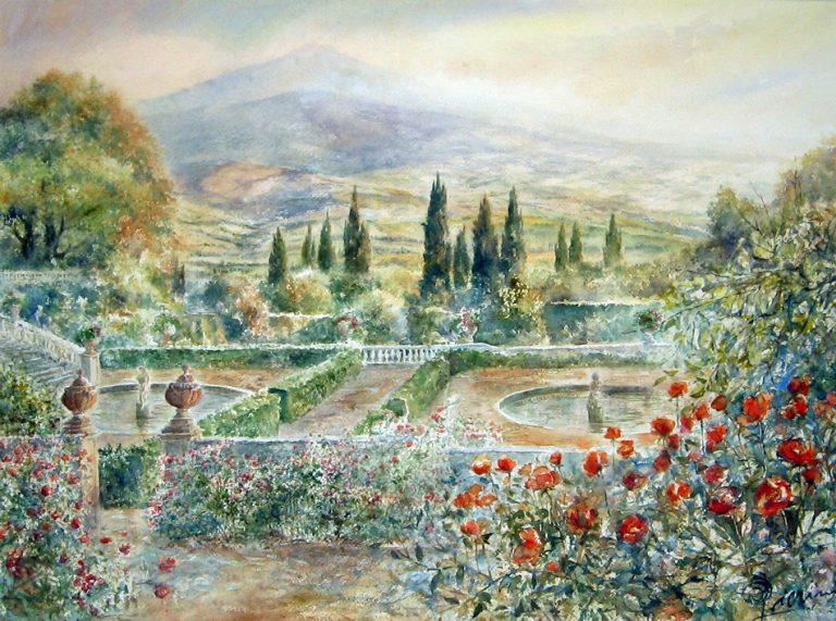 Altre opere e soggetti degli acquerelli di Giampiero Pierini, terrazze e giardini in terre di Siena