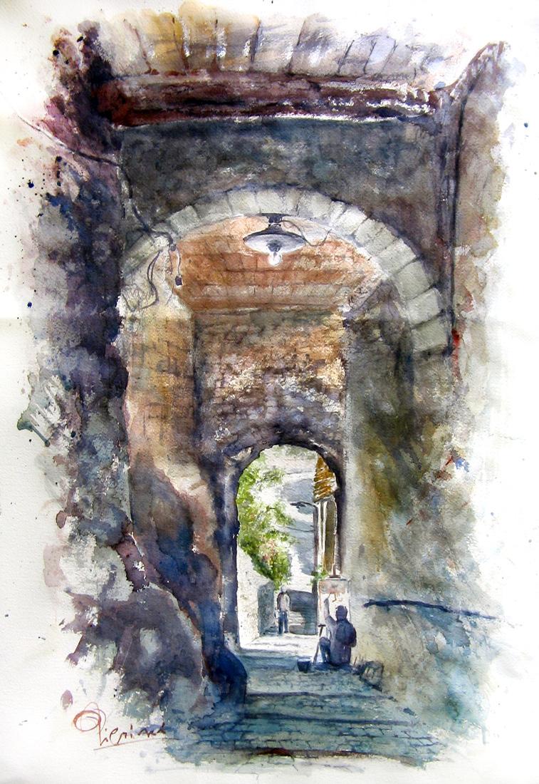 Altre opere e soggetti degli acquerelli di Giampiero Pierini, estemporanea a Morolo di un vicolo