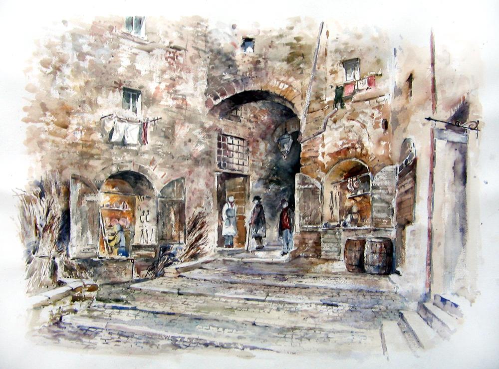 Altre opere e soggetti degli acquerelli di Giampiero Pierini, la via dei ferrari a Subiaco