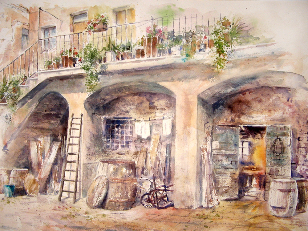 Altre opere e soggetti degli acquerelli di Giampiero Pierini, interno del bottaio di Albano