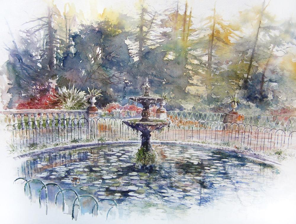 Altre opere e soggetti degli acquerelli di Giampiero Pierini, vasca con ninfee nei giardini di palazzo Corsini ad Albano