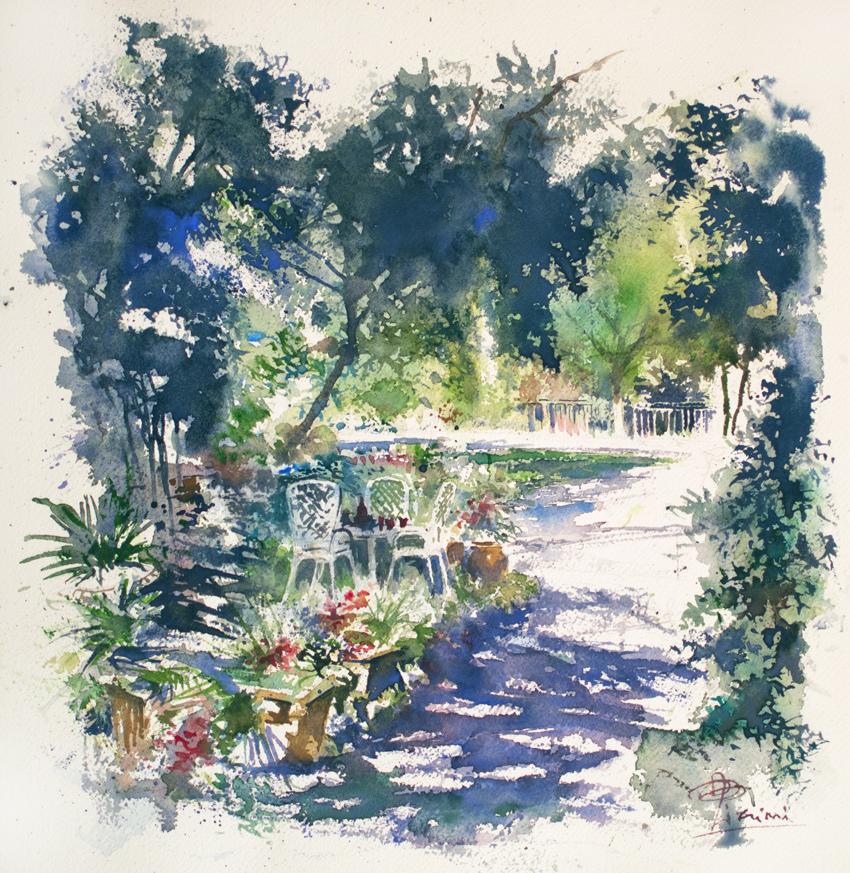 Altre opere e soggetti degli acquerelli di Giampiero Pierini, all'ombra degli alberi nel giardino