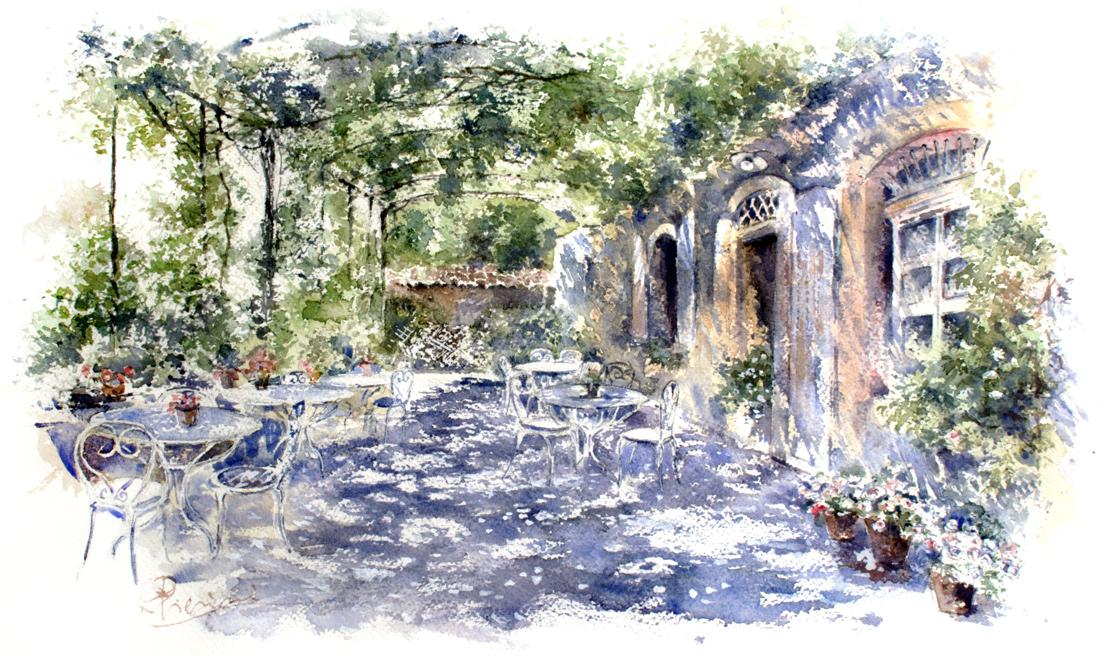 Altre opere e soggetti degli acquerelli di Giampiero Pierini, all'ombra in veranda