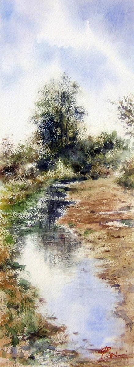 I paesaggi degli acquerelli di Giampiero Pierini, il fiume