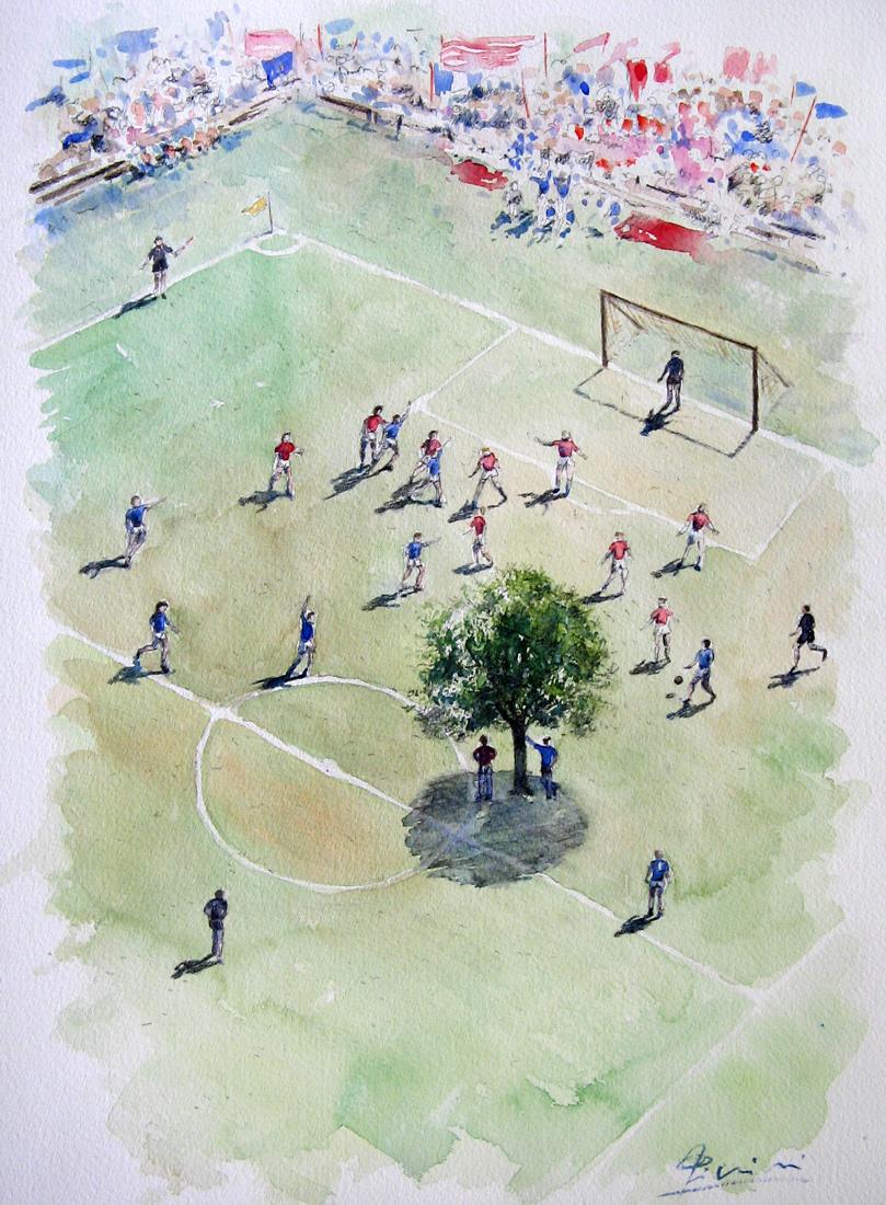 Altre opere e soggetti degli acquerelli di Giampiero Pierini, campo da calcio con albero