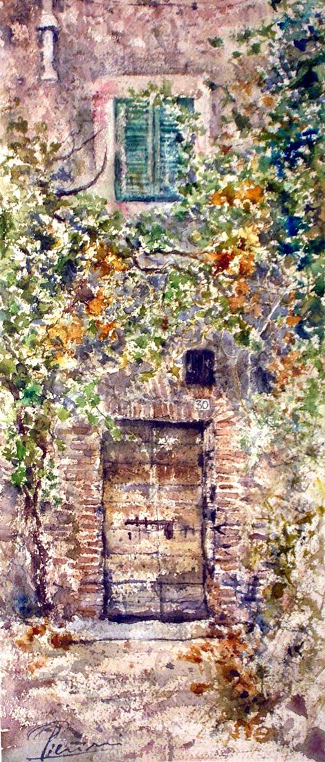 Altre opere e soggetti degli acquerelli di Giampiero Pierini, porta all'ombra degli alberi