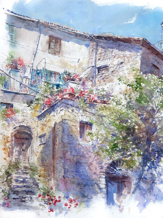 Altre opere e soggetti degli acquerelli di Giampiero Pierini, estemporanea a San Polo dei cavalieri
