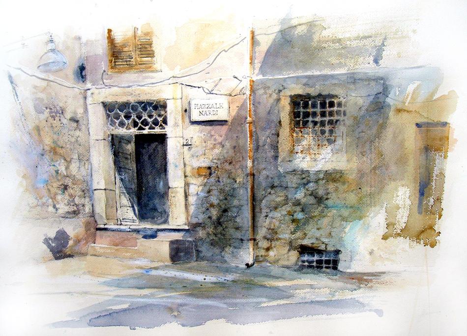 Altre opere e soggetti degli acquerelli di Giampiero Pierini, piazzale Nardi a Subiaco