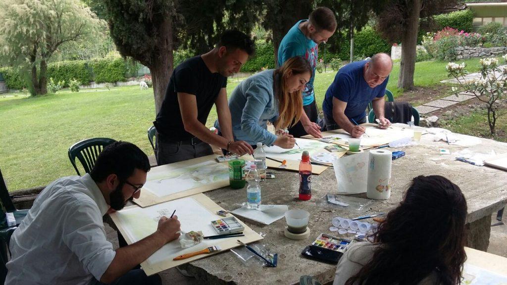 Corso di pittura di Giampiero Pierini per il Servizio Civile a Villa Morani