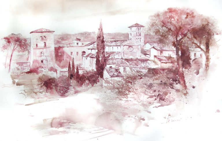 Acquerelli e vinarelli di Giampiero Pierini, paesaggio