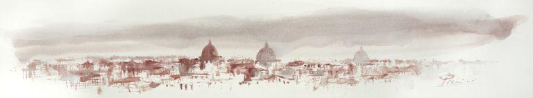 Acquerelli e vinarelli di Giampiero Pierini, veduta di Roma