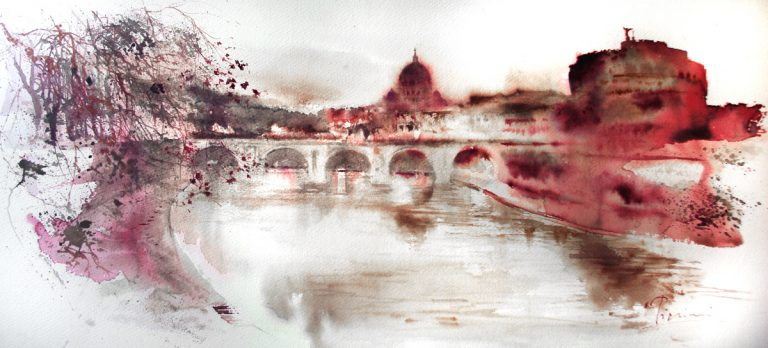 Acquerelli e vinarelli di Giampiero Pierini, veduta di castel Sant'Angelo a Roma