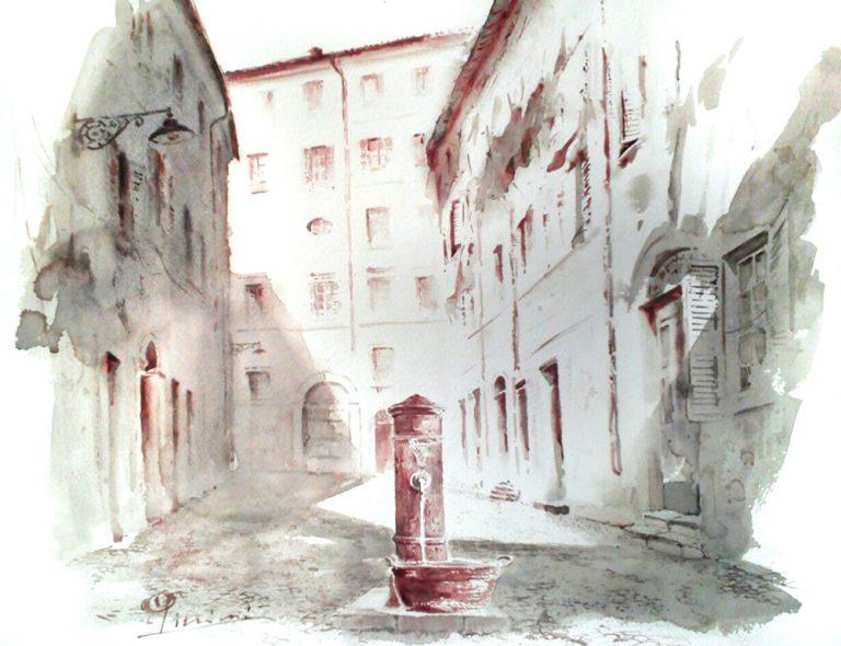 Acquerelli e vinarelli di Giampiero Pierini, fontana in paese