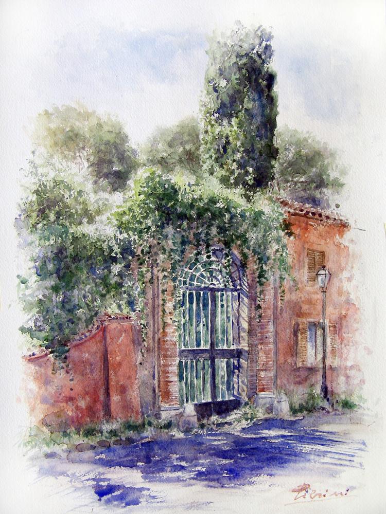 Roma e la campagna romana degli acquerelli di Giampiero Pierini, sull'Aventino