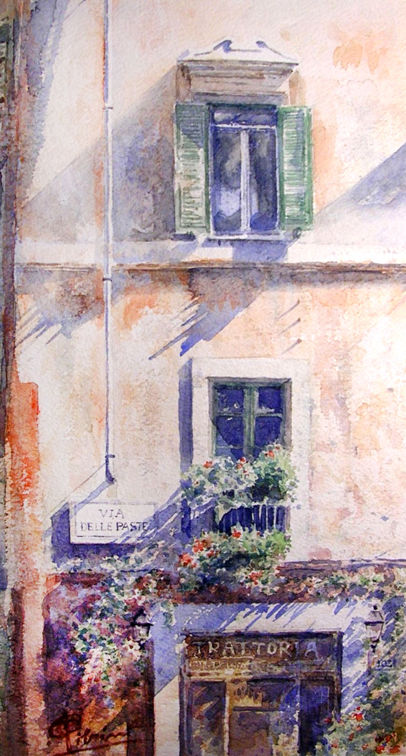 Roma e la campagna romana degli acquerelli di Giampiero Pierini, via delle paste