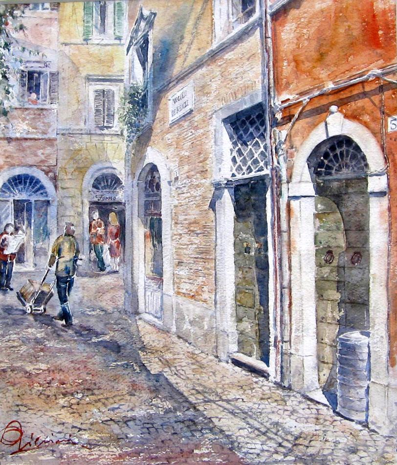 Roma e la campagna romana degli acquerelli di Giampiero Pierini, vicolo de renzi