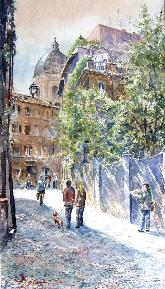 Roma e la campagna romana degli acquerelli di Giampiero Pierini, dietro San Giovanni dei fiorentini