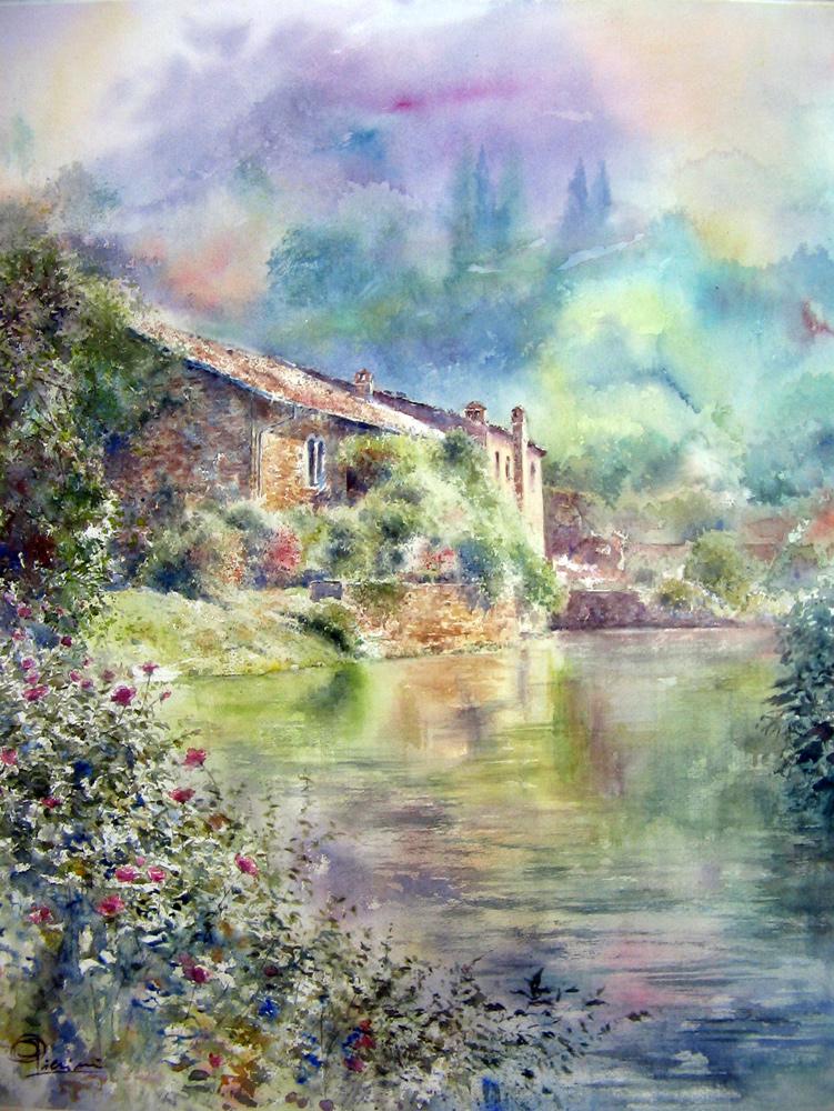 I paesaggi degli acquerelli di Giampiero Pierini, Guidonia e i giardini di Ninfa