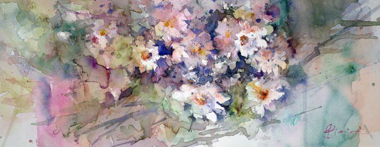 Le composizioni degli acquerelli di Giampiero Pierini, mucchio profumato