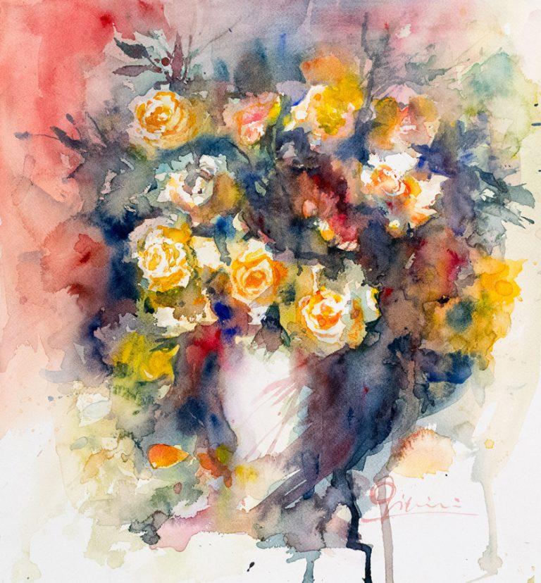 Le composizioni degli acquerelli di Giampiero Pierini, vaso di rose