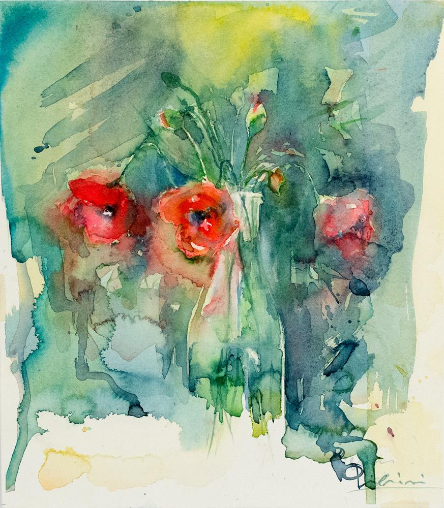 Le composizioni degli acquerelli di Giampiero Pierini, bottiglia di papaveri