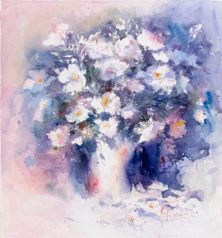 Le composizioni degli acquerelli di Giampiero Pierini, vaso di fiori bianchi