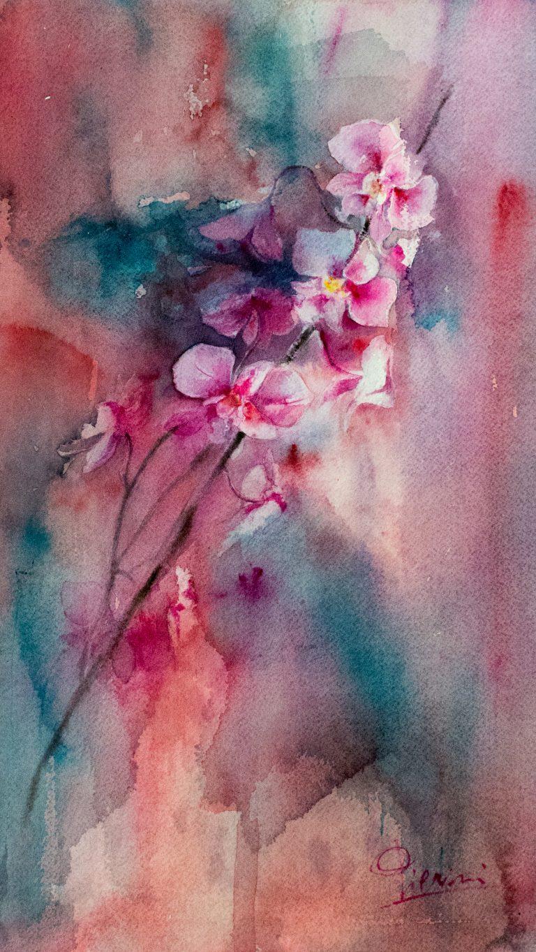 Le composizioni degli acquerelli di Giampiero Pierini, studio floreale