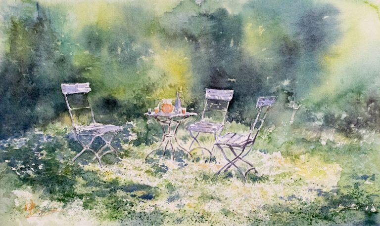 Altre opere e soggetti degli acquerelli di Giampiero Pierini, tavolino nel verde