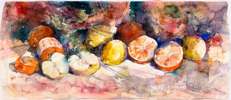 Le composizioni degli acquerelli di Giampiero Pierini, mele e arance